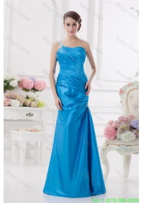 One Shoulder Column Ruching and Appliques Teal Mother of the Bride Dress