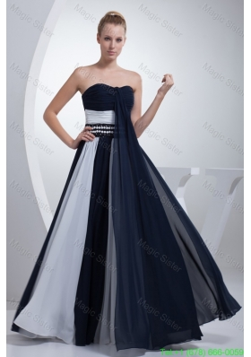 Ruched and Beaded Mother of the Bride Dresses in Navy Blue and White