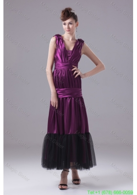 Ruching and Bowknot Decorated Ankle Length Purple Mother of the Bride Dresses