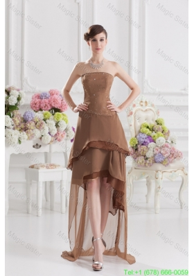 Saddle Brown A Line Strapless Chiffon High Low Mother of the Bride Dress with Beading