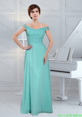 Simple Aqua Blue Off The Shoulder Mother of the Bride Dress With Beading and Ruching