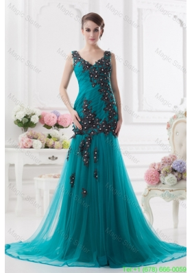 Turquoise Column Court Train Tulle Mother of the Bride Dress with Ruching and Appliques