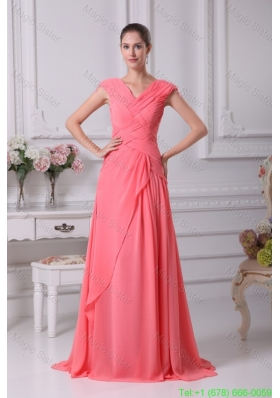Watermelon Red Ruching V Neck Cap Sleeves Long Mother of the Bride Dress