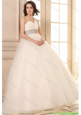 2016 Spring Ball Gown One Shoulder Beaded Decorate Waist Tulle Wedding Dress