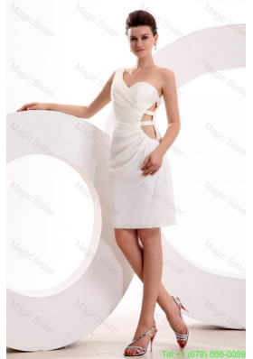 2016 Spring Column One Shoulder Ruching Mini-length Wedding Dress