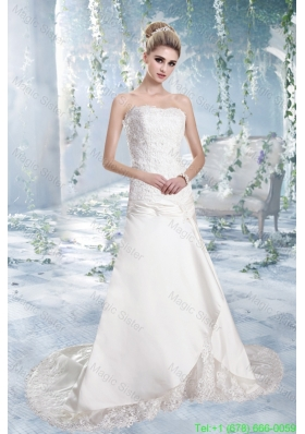 2016 Spring Elegant A Line Strapless Brush Train Lace Wedding Dresses