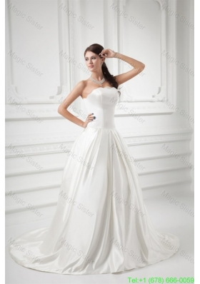 2016 Spring Elegant A-line Strapless Sweep Train Wedding Dress with Satin