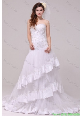 2016 Spring Fashionable A-line Sweetheart Appliques Decorate Wedding Dress