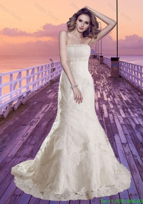 2016 Spring Mermaid Strapless Lace Beading Wedding Dress with Chapel Train