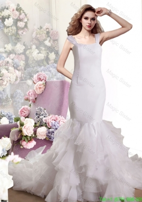 2016 Spring Mermaid Straps Ruffles Wedding Dress with Chapel Train
