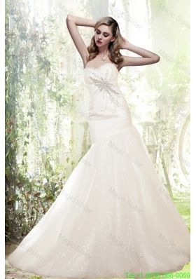 2016 Spring Mermaid Sweetheart Beading Chapel Train One Sale Wedding Dresses