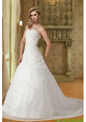 2016 Spring Popular A Line Sweetheart Court Train Wedding Dress with Appliques