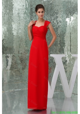 Ankle Length Square Neck Ruched Red Mother of the Bride Dress with Cutouts on Back