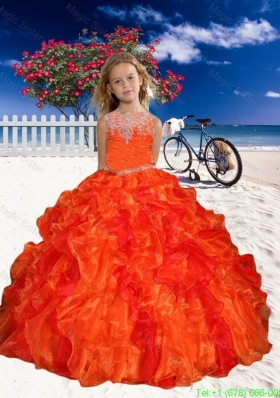 Appliques Little Girl Pageant Dress in Orange Red with Beaded Decorate