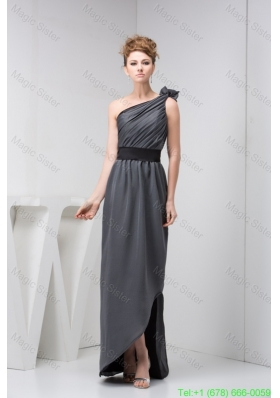 Asymmetrical Floor Length Ruched Grey Mother of the Bride Dress