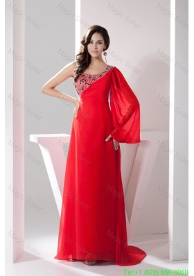 Asymmetrical Neckline Brush Train Mother of the Bride Gown with Single Long Sleeve
