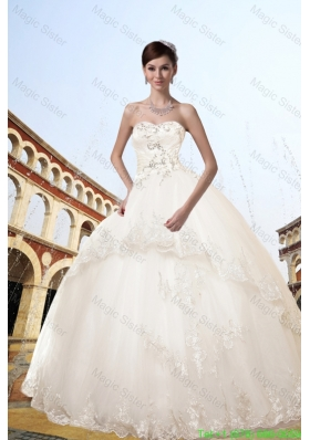 Ball Gown Strapless Appliques Wedding Dress for Church