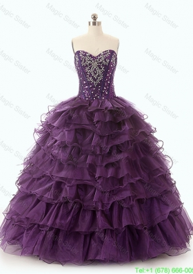 Beautiful Dark Purple Sweet 16 Dresses with Ruffled Layers
