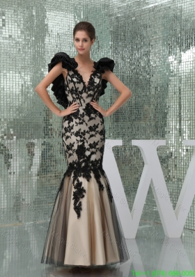 Black and Champagne Long Mother of the Bride Dress with Appliques