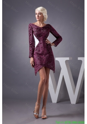 Burgundy Mini Length Mother of the Bride Dresses with V Neck and Long Sleeves