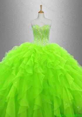 Cheap Beaded and Ruffles Sweet 16 Gowns in Organza