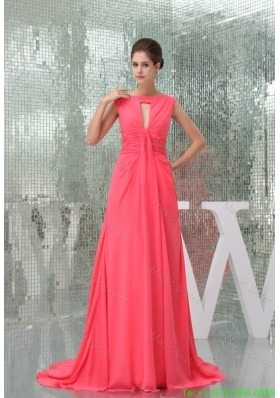 Chiffon Watermelon Red Brush Train Mother of the Bride Dress with Cutout