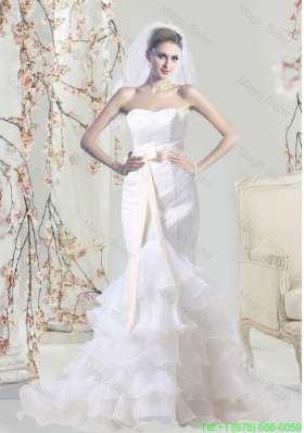 Designer Mermaid Sweetheart Lace Wedding Dress with Sash and Ruffles Layered
