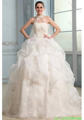 Halter Top Neck Organza Ball Gown Wedding Dress with Appliques