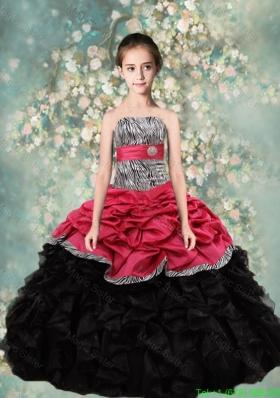Lovely Strapless Little Girl Pageant Dresses with Zebra and Ruffles