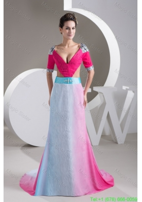 Multi Colored V Neck Mother of the Bride Gowns with Brush Train and Cutout Waist