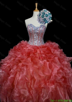 New Style Ball Gown Sweet 16 Dresses with Sequins and Ruffles in Rust Red