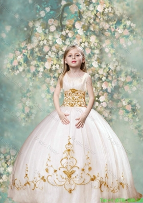 Perfect Ball Gown Scoop Mini Pageant Dresses in White and Gold