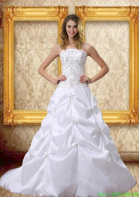 Popular Embroidery 2016 Wedding Dress with Strapless