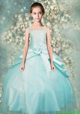 Popular Straps Beaded Little Girl Pageant Dresses in Aqua Blue
