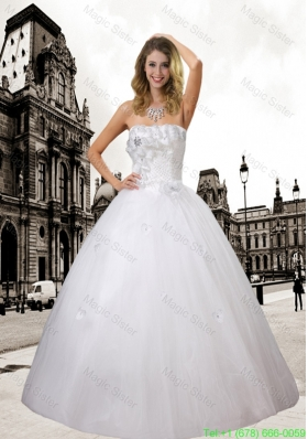 Pretty Ball Gown Hand Made Flowers and Beading Wedding Dress For 2016