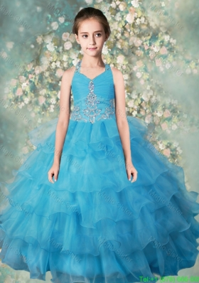 Pretty Halter Top Little Girl Pageant Dresses with Beading and Ruffled Layers