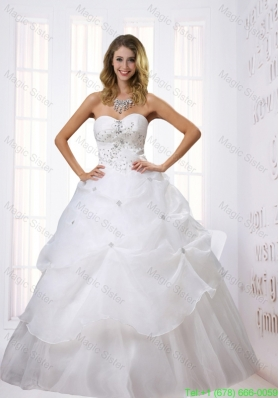 Princess Sweetheart Floor Length 2015 Wedding Dress with Beading