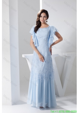 Ruffled Short Sleeves Scoop Ankle Length Mother of the Bride Dress in Light Blue