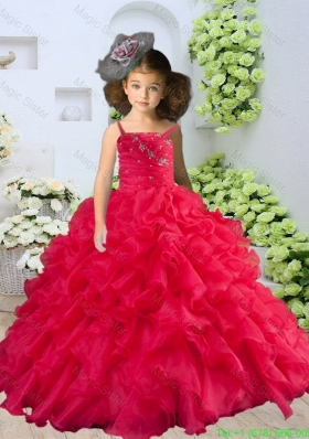 Straps Beading and Ruching Little Girl Pageant Dress in Coral Red