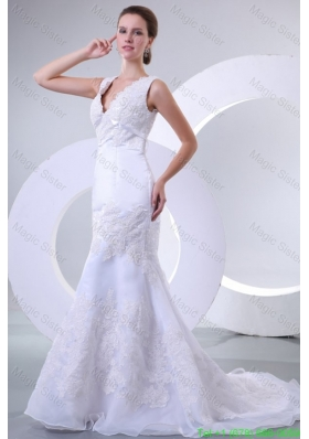 V Neck Mermaid Organza Appliques Wedding Dress for 2016 Spring