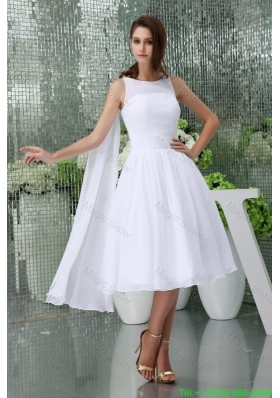 2016 Spring Affordable Scoop A-line Tea-length Bridal Gown in White withh Watteau Train