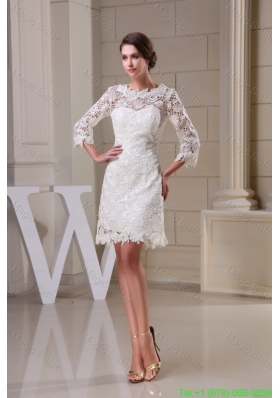 2016 Spring Lace Flowers Scoop Sheath Wedding Dresses in White with 3/4 Sleeves