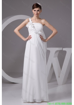 2016 Spring One Shoulder Floor-length Wedding Dresses with Ruches and Flowers