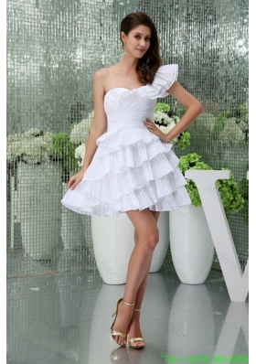 2016 Spring Petal Single Shoulder Ruching and Ruffled Layers Wedding Gown in White