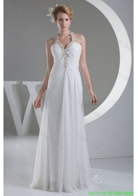 2016 Spring White Halter Top Ruched Wedding Dress with Appliques and Beading