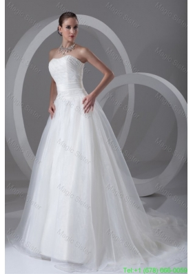 A Line Strapless Ruching Brush Train Organza Wedding Dress