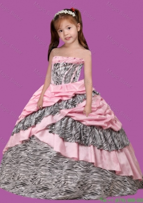 Ball Gown Multi-color Strapless Pick-ups Zebra Little Girl Pageant Dresses for 2014
