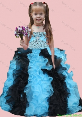 Ball Gown Strapless Beading Ruffles and Beading Muti-color Little Girl Pageant Dress