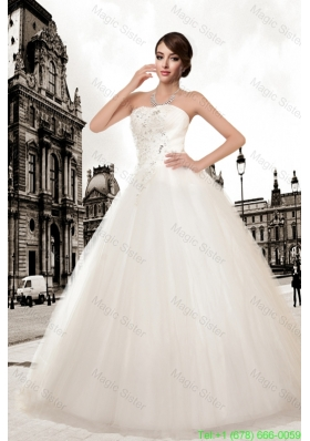 Ball Gown Strapless Hot Sale Wedding Dresses with Appliques