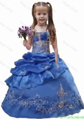 Ball Gown Strapless Rose Pink Little Girl Pageant Dresses for Birthday Party